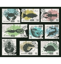 Stamps on the theme of sea life animals vector