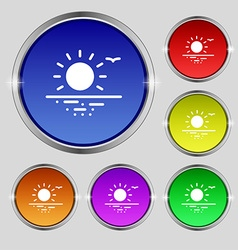 sunset icon sign Round symbol on bright colourful vector image