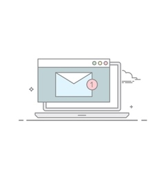 The e-mail on a laptop or nitebook in a linear vector image vector image