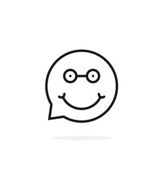 thin line nerdy emoji speech bubble logo vector image