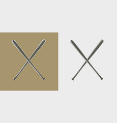 Two baseball bats icon or sign vector