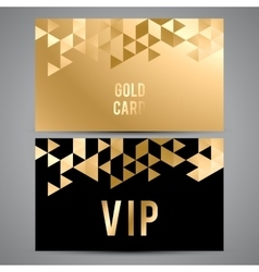 Vip cards black and golden design triangle vector