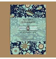Wedding invitation card dark vector image vector image