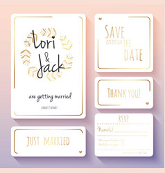 wedding invitation card set thank you save the vector image