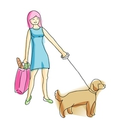 Young pretty blond walking with dog she walks vector