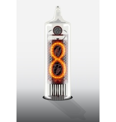 Digit 8 on vintage vacuum tube display vector