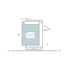 The e-mail on mobile phone or tablet in a linear vector