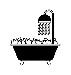 Bathtub with flowers isolated icon vector