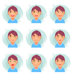 Funny emotions cute boy avatar icons set flat vector