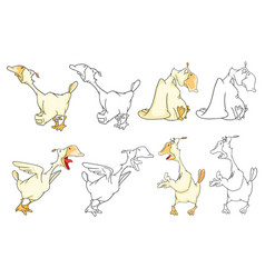 Set cartoon domestic geese cartoon vector