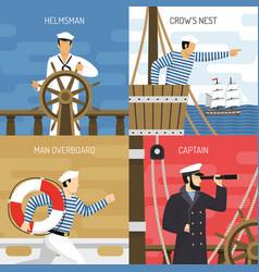 Ship crew 4 icons concept vector