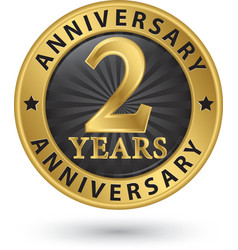 2 years anniversary gold label vector