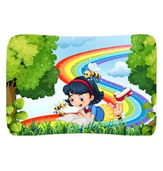 Girl reading in nature with rainbow vector