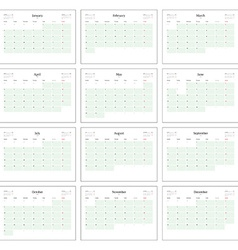 Monthly calendar planner for 2016 print template vector