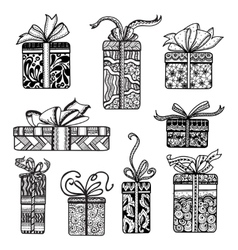 Decorative presents boxes set black doodle vector