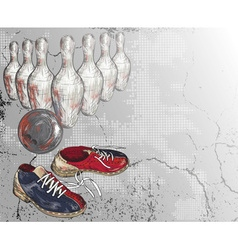 Grunge bowling background vector