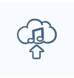 Upload music sketch icon vector