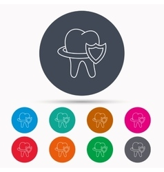 Tooth protection icon dental shield sign vector
