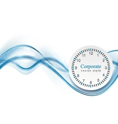 Abstract blue waves and clock vector image vector image