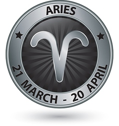 Aries zodiac silver sign aries symbol vector