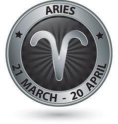 Aries zodiac silver sign aries symbol vector image vector image