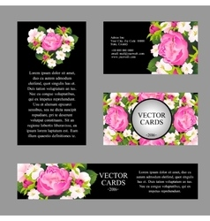 Cards with the texture of pink peonies vector