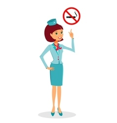 Cartoon flight attendant in uniform pointing on no vector