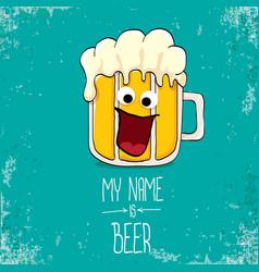 Cartoon funky fresh beer glass character vector