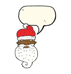 Cartoon grim santa face with speech bubble vector