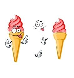 Cartoon isolated strawberry ice cream cone vector