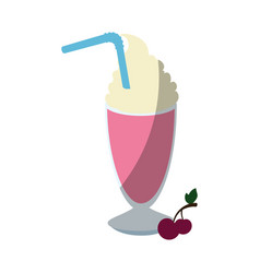 Cherry milkshake icon vector