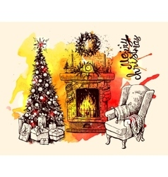 Christmas tree and fireplace vector