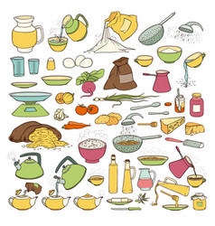 Colourful sketch collection set of food vector