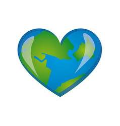 Earth planet heart icon vector