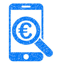 Euro mobile research grunge icon vector