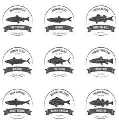 Fish silhouettes labels emblems vector
