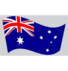 Flag of Australia waving on gray background vector image