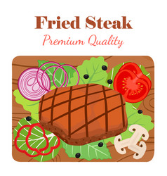 fried steak on cutting board with vegetables vector image vector image