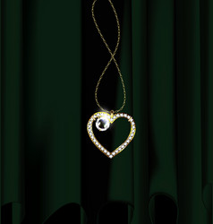 Green drape and jewelry heart pendant vector