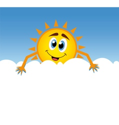 happy sun with cloud vector image
