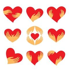 Heart hand symbols vector