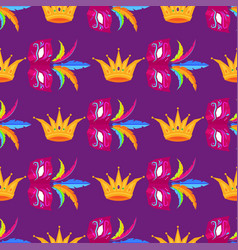 Mardi gras festival mask and crow wrapping paper vector
