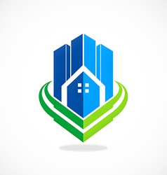 modern building city apartment logo vector image vector image