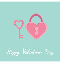 Padlock and key in shape of heart valentines day vector