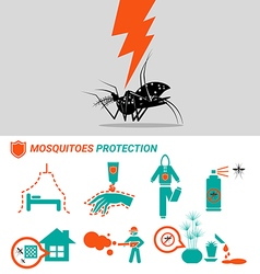 Set of mosquitoes protection concept vector