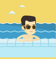 smiling young man in swimming pool vector image