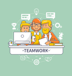 Team people standing and sitting behind desk vector