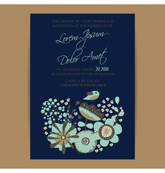 Wedding invitation card with bird and flowers navy vector