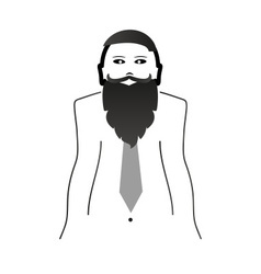 Weird hipster head and body with big beard and vector