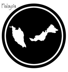 White map of malaysia on black vector